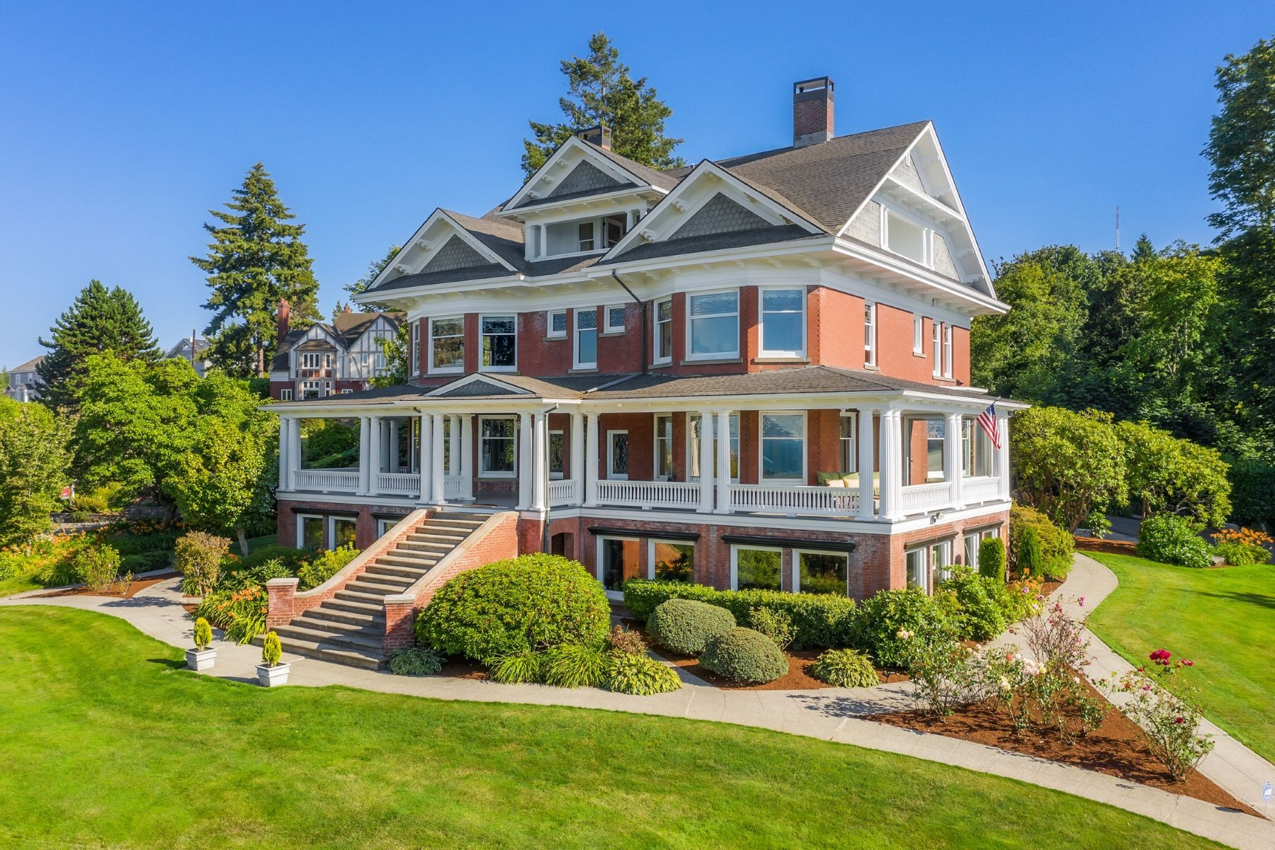 "The Rucker Mansion in Everett is over 100 years old, and currently on sale for $3.5 million. The main house is 10,000 square feet, carriage house is 4,400 square feet, and all sits on almost three acres of land. It was built between 1901-1905 in Everett by the Rucker Brothers who moved from Ohio and bought out John D Rockefeller's timber rights in the Northwest, for an estimated $44,000. Some standout features include an entrance is covered with cut velvet designed by Sloan's of New York, a Smoking Room with Bird's Eye Maple trim, Honduran Mahogany and leather wall covering, and a kitchen made of Rojo Coralita Marble that came off the floor of the Seattle Opera House when it was remodeled. More info{&nbsp;}<a  href=""https://www.ruckermansioneverett.com/"" target=""_blank"" title=""https://www.ruckermansioneverett.com/"">online</a>. (Image:{&nbsp;}Cory Holland at Clarity Northwest)"