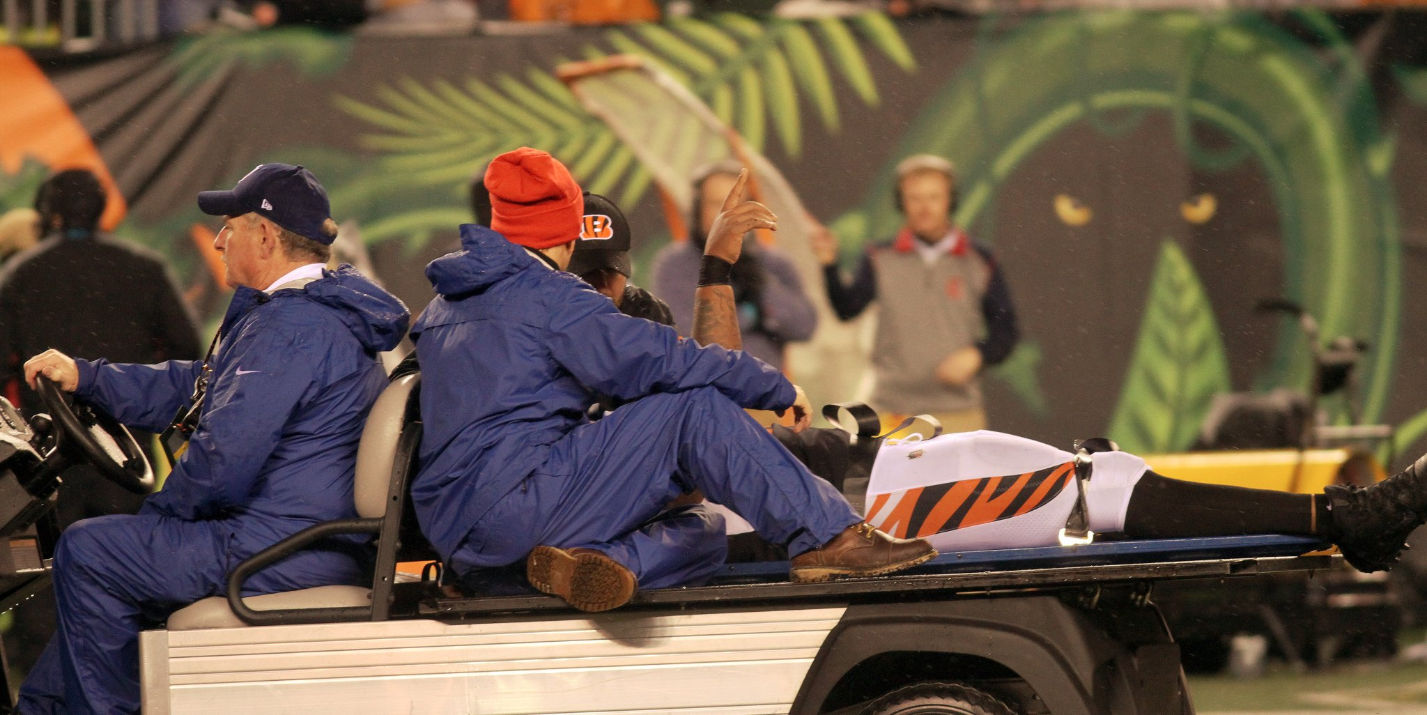 Cincinnati Bengals outside linebacker Vontaze Burfict gestures as he is carted off the field after an apparent injury in the second half of an NFL football game against the Pittsburgh Steelers, Monday, Dec. 4, 2017, in Cincinnati. (WKRC/Tony Tribble)