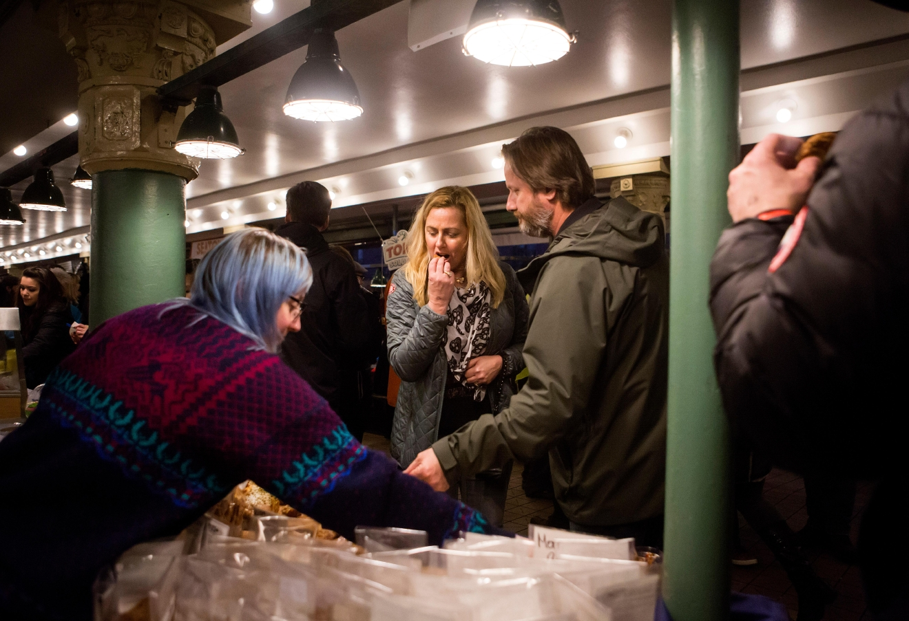Arcade Lights at Pike Place Market is an artisan food, craft beer, cider and cocktail tasting event, with over 1,000 attendees and over 70 vendors. Proceeds from Arcade Lights benefit seniors and families in Pike Place Market. (Sy Bean / Seattle Refined)