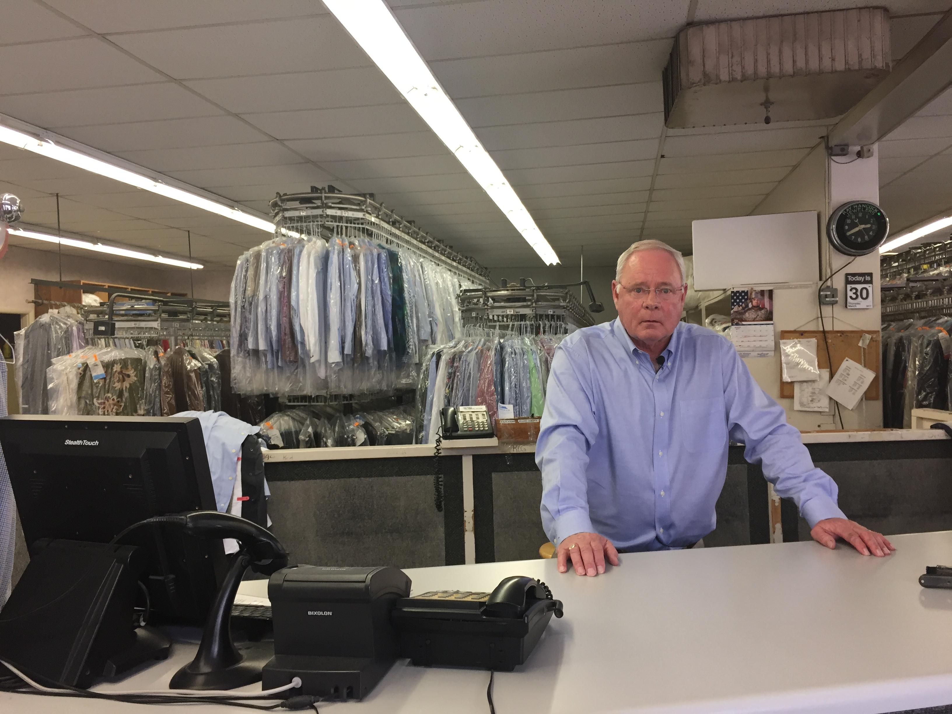 At Asheville Cleaners, Gut Roberts and his family have been a fixture on Merrimon Avenue since 1938. (Photo credit: WLOS staff)