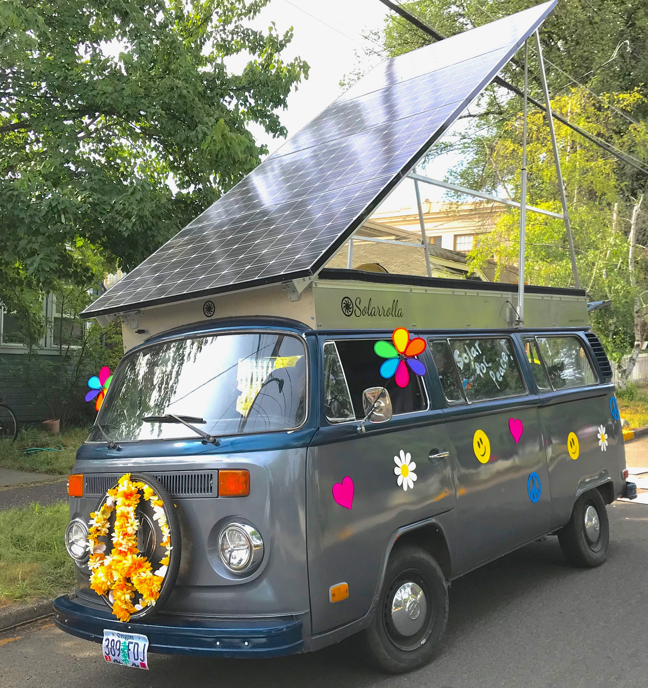Brett Belan's solar-powered VW van decorated for a parade. (Courtesy photo)