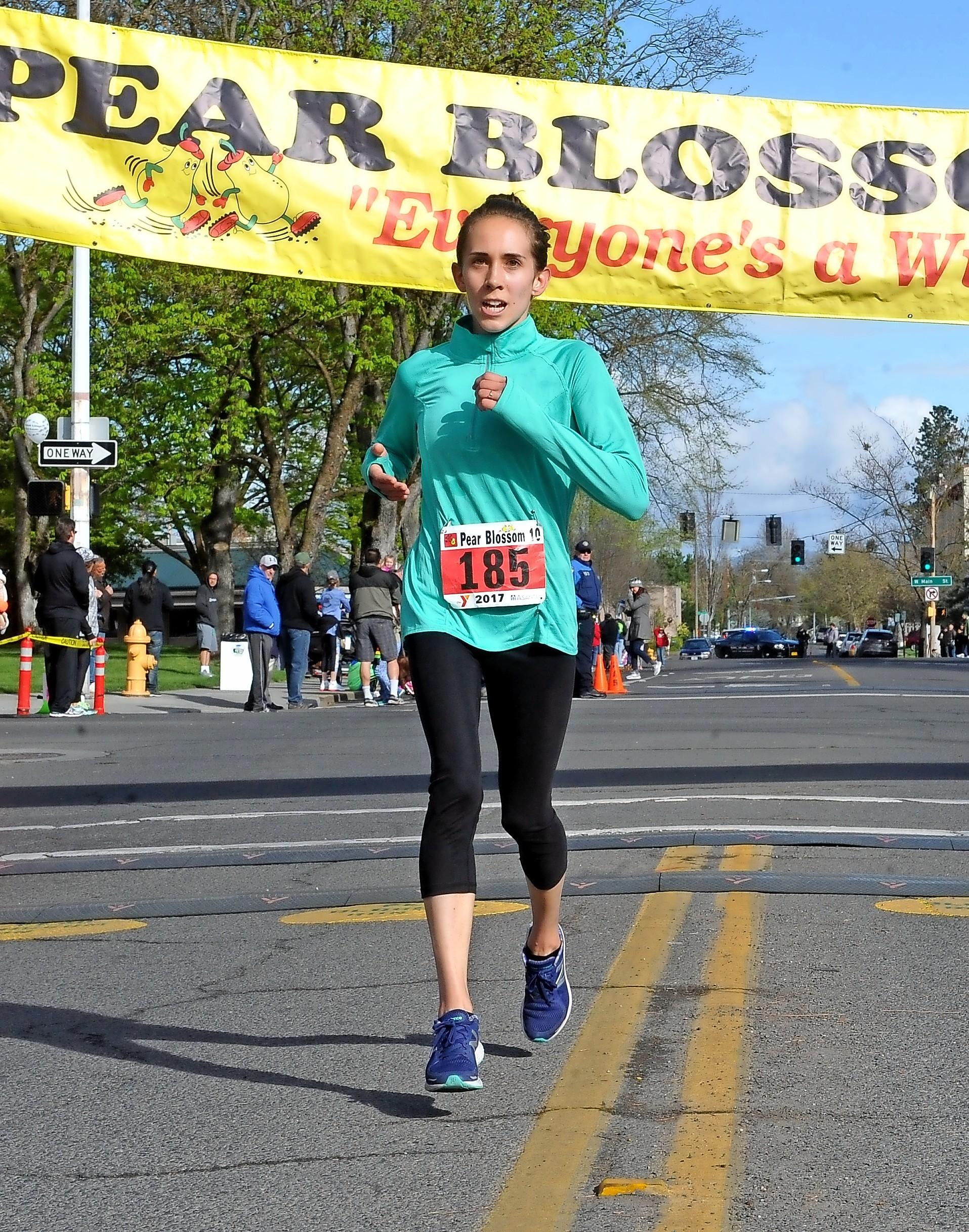 Denise Baratta / MT File Photo Medford's Heather Johnson finished 2nd place in the 2017 Pear Blossom 10-Mile Run.