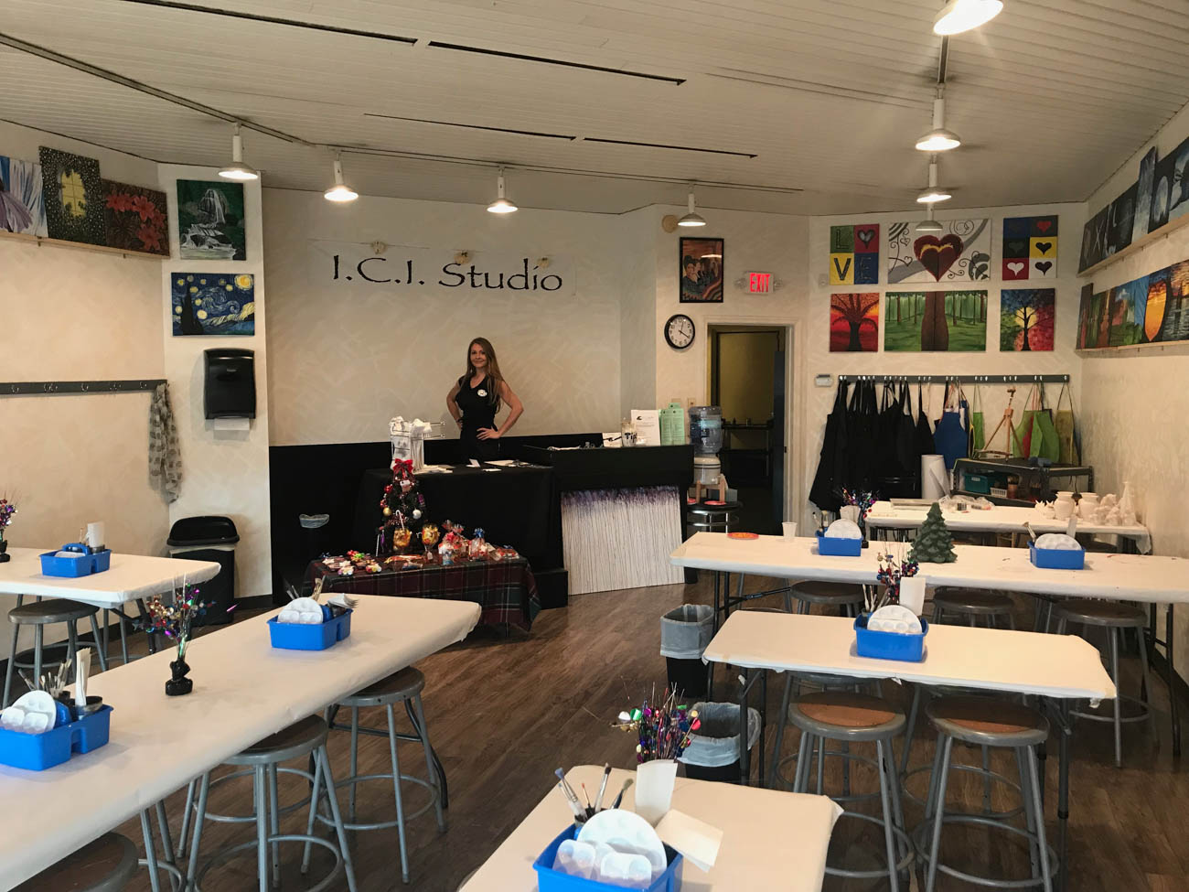 PLACE: I.C.I. Studio / ADDRESS: 10754 Montgomery Road (45242) / I.C.I. stands for 'Imagine. Create. Inspire.' This locally-owned Montgomery studio is one of a few full-service studios in Cincinnati. Artists can stop by during open studio hours to be creative if they need an art space or might be having trouble finding inspiration at home. The open studio fee is $5 and all kinds of tools and materials are provided at the artists' disposal—no reservation necessary. But there are also paint classes and events held here, too, including painting on pottery with a glaze, glass painting with enamel, and wood and canvas painting with acrylic paint. I.C.I. is a community-based studio, offering services like school enrichment programs to kids. Private classes, free style studio hours, and corporate events are all BYOB if you are of age. / Image courtesy of I.C.I. Studio // Published: 12.21.18
