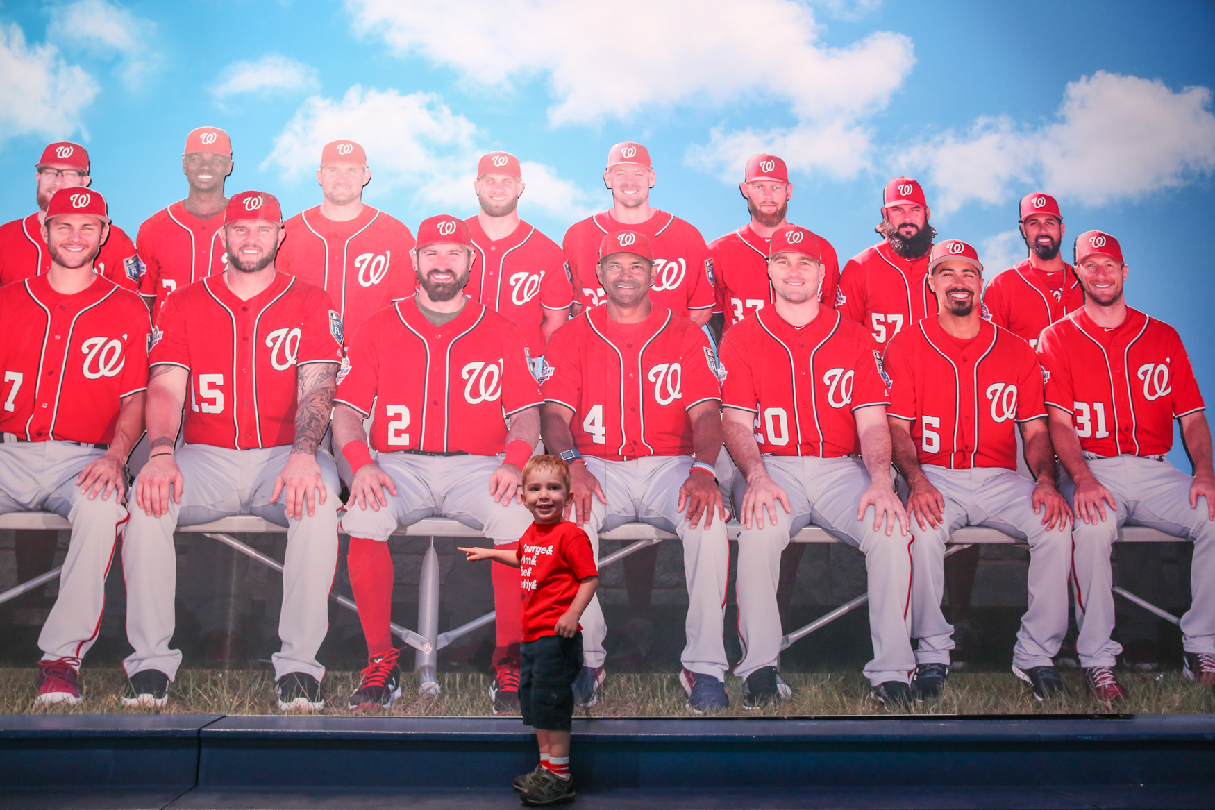 Peter Londin,{ } 2, was thrilled to meet life-size cut-outs of his favorite Nats players.{ } (Amanda Andrade-Rhoades/DC Refined)