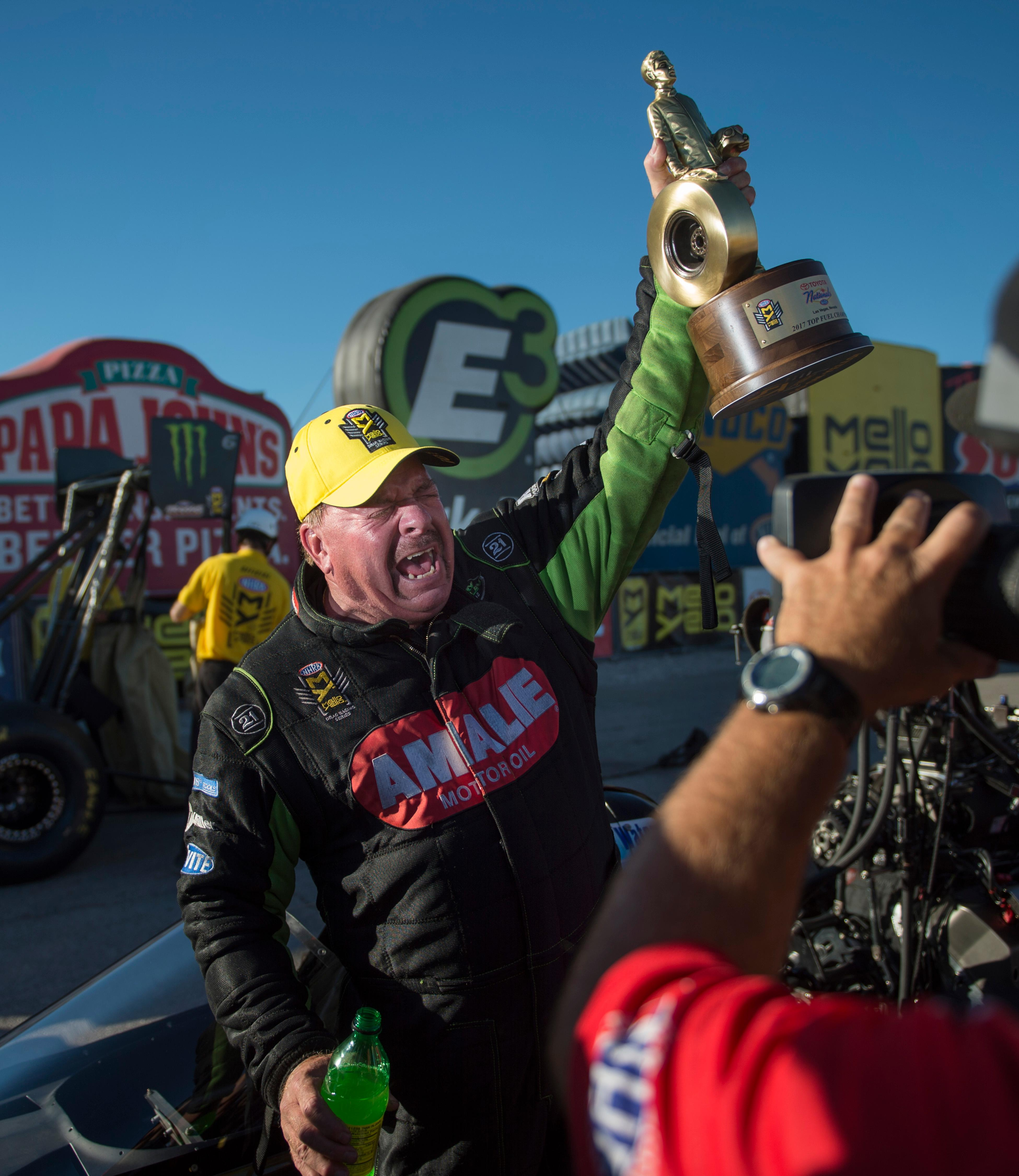 Top Fuel driver Terry McMillen celebrates his victory, his first ever in Top Fuel, at the NHRA Toyota Nationals Sunday, October 29, 2017, at The Strip at the Las Vegas Motor Speedway. CREDIT: Sam Morris/Las Vegas News Bureau