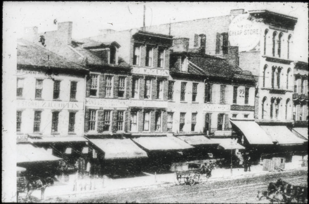 "This photograph is listed as ""Government Square, north side"" and is dated 1865. The iconic post office wasn't constructed on the north side of Government Square until 1885. / From the collection of the Public Library of Cincinnati and Hamilton County / Image courtesy of the Public Library of Cincinnati and Hamilton County // Published: 9.27.18"
