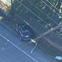 Car crashes into power pole, shuts down Aurora Ave. N. in North Seattle