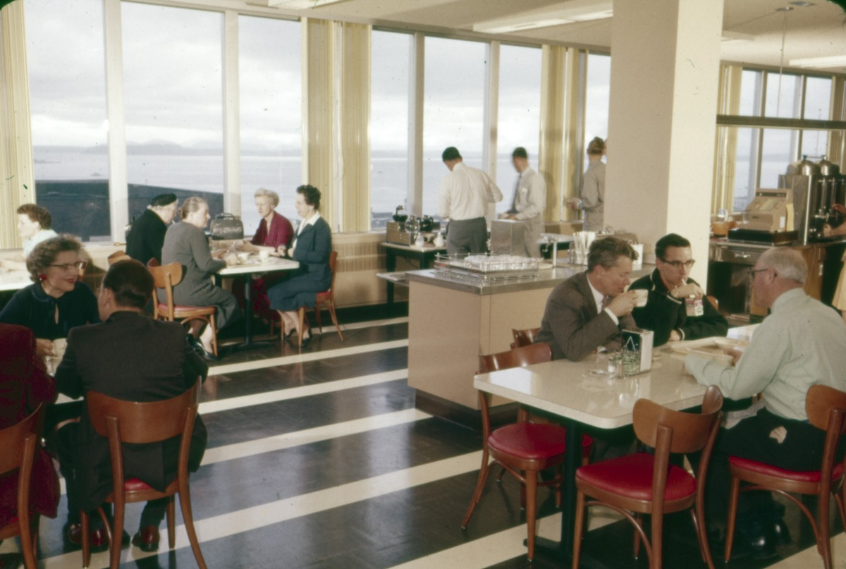 Seattle City Light is still operating out of their offices at 700 5th Ave. Here's a picture of their cafeteria back in 1961! (Image: Seattle Municipal Archives)