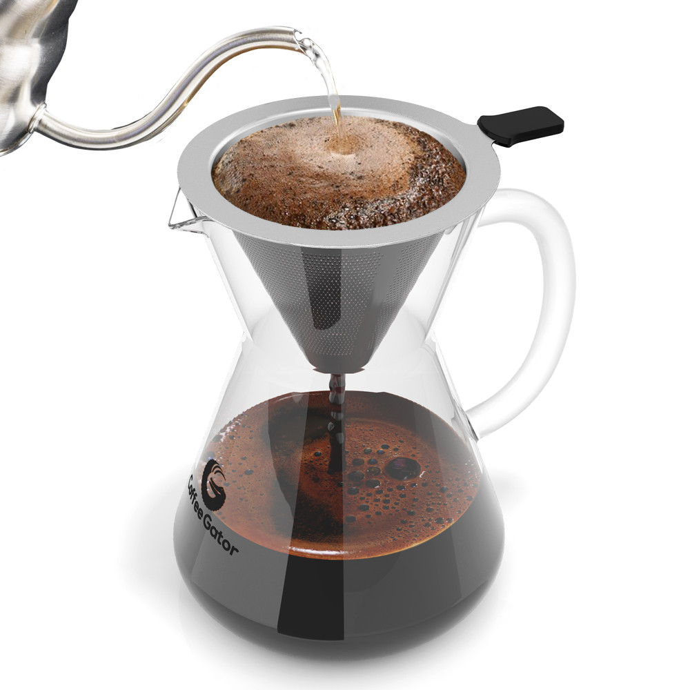 Kelly sampled two brands: the 400 ml-sized Coffee Gator ($26, pictured here) which consists of a handled glass pitcher into which a metal filter sets, and the Osaka Gold Cone Dripper ($20, next image), which can be set over any container, Thermos or mug. (Image: Courtesy Coffee Gator)