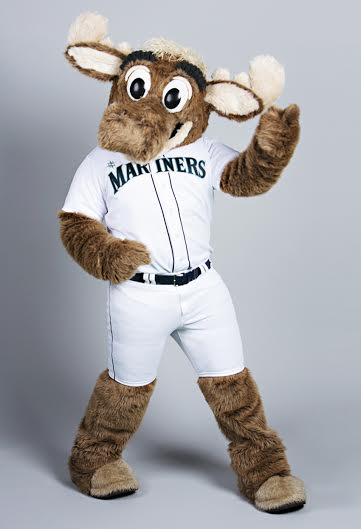 Mariner Moose was among the celebrities like Macklemore, Seahawk players to even our Seattle Mayor who were excited to call it quits for a Seattle Goodwill's BreakUp4Good campaign. (Photo Credit: Seattle Goodwill)