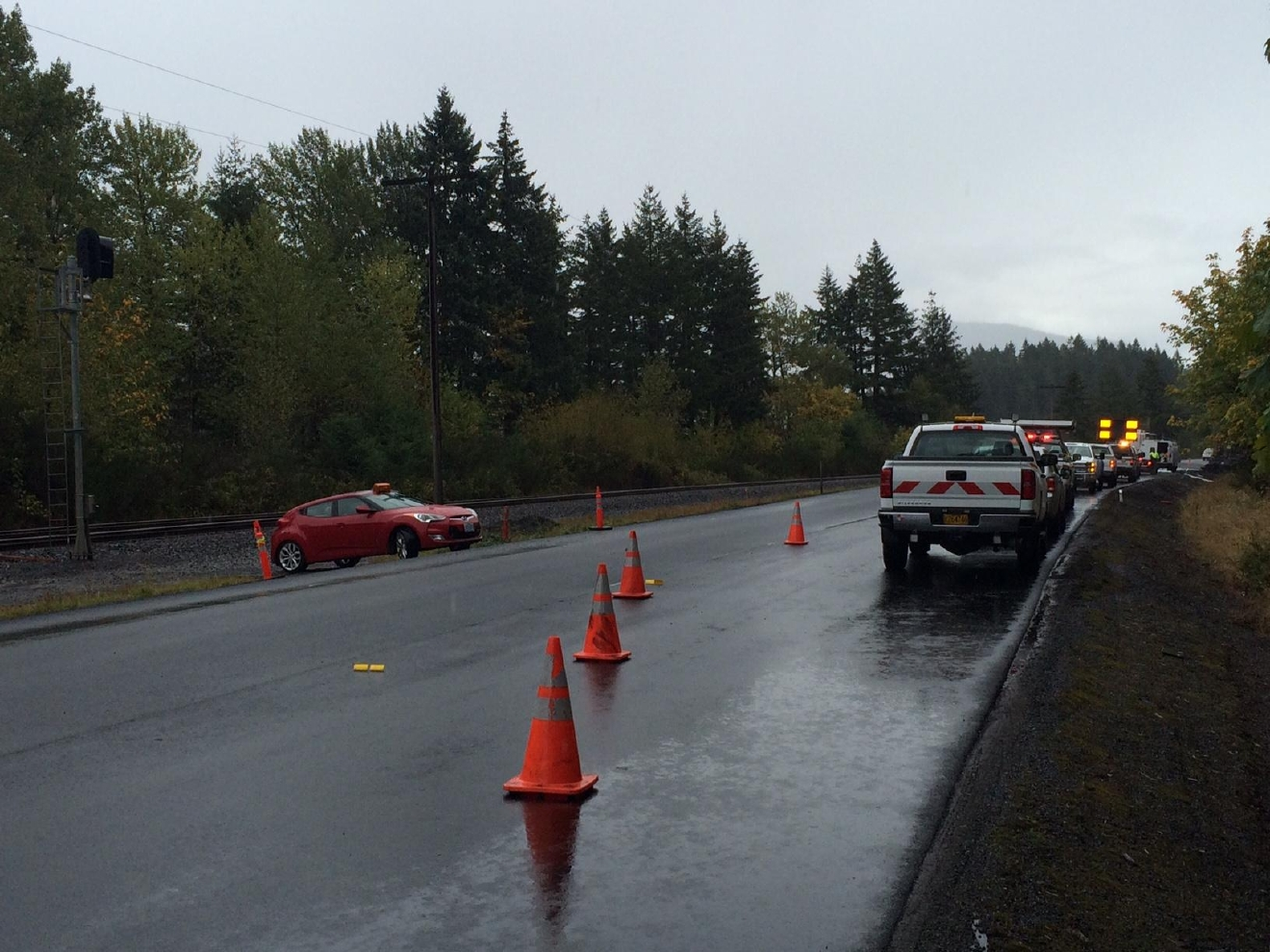 One lane of Highway 58 is open after a tanker truck crashed and exploded late Saturday night. The crash caused damage to the pavement and police are still investigating the scene. Photo courtesy OSP