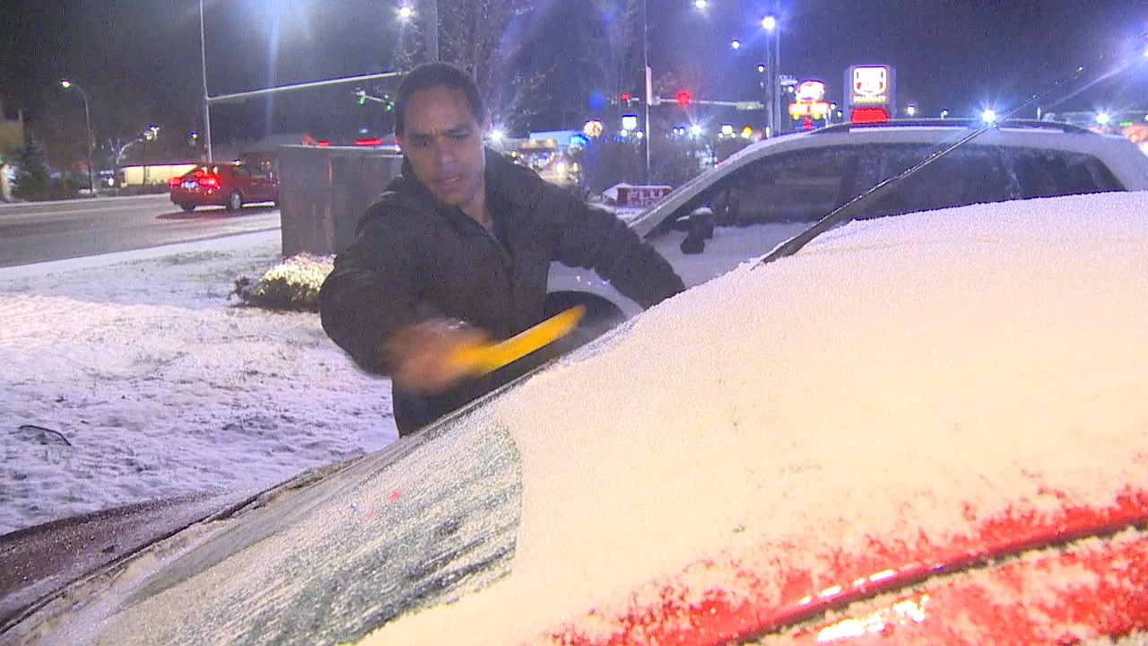 The State  Department of Transportation is warning drivers in Whatcom County not to be on the roads if they don't have to travel, as a winter storm moves in, bringing snow and freezing rain to that region.  (Photo: KOMO News)