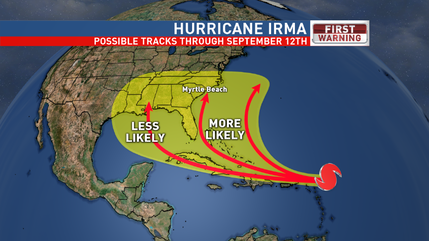 Possible tracks for Hurricane Irma through September 12, 2017. (First Warning Weather, WPDE)