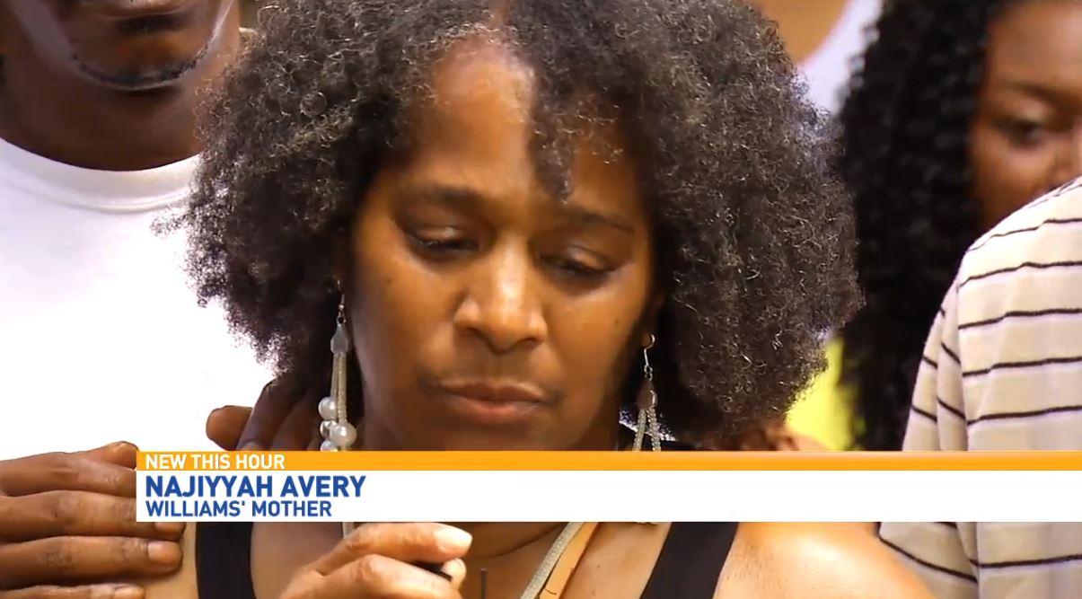 Williams' mother, Najiyyah Avery, was in the front row grieving the death of her son (Photo credit: WLOS)