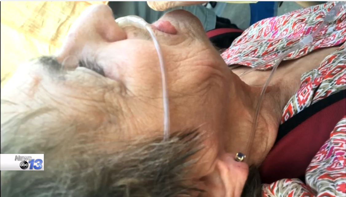 Sixty-nine-year-old protester Shirley Teter was punched in the face outside a Trump rally. (Photo credit: Matt Price, Fairview)