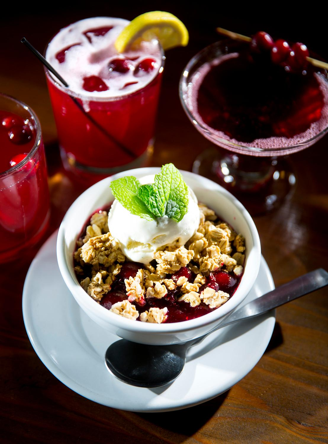 The cranberry citrus and vanilla bean cobbler with Tillamook ice cream and granola crumbs at the Salt Hotel and Pub, located at 147 Howerton Ave, Ilwaco, WA. (Sy Bean / Seattle Refined)