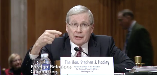 Photo: Senate Foreign Relations Committee / Former Assistant to the President for National Security Affairs under President George W. Bush's administration Stephen Hadley{&amp;nbsp;}<p></p>