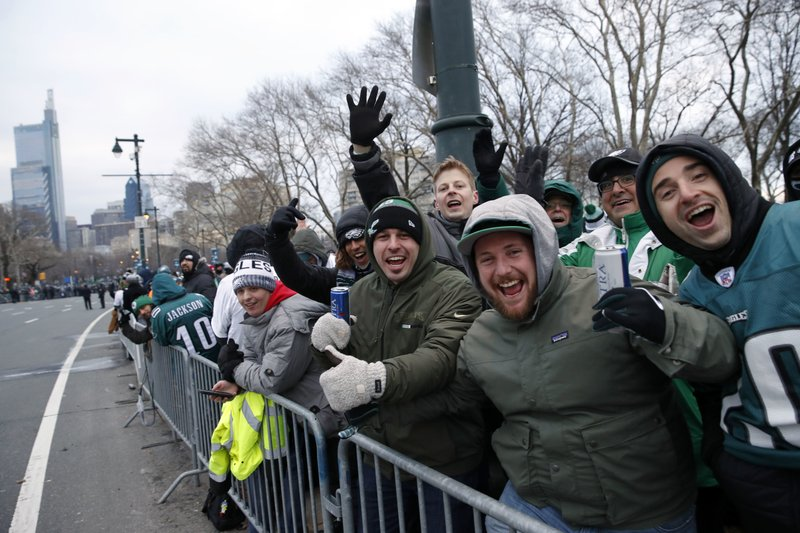 <p>Fans line Benjamin Franklin Parkway before a Super Bowl victory parade for the Philadelphia Eagles NFL football team, Thursday, Feb. 8, 2018, in Philadelphia. The Eagles beat the New England Patriots 41-33 in Super Bowl 52. (AP Photo/Alex Brandon)</p>
