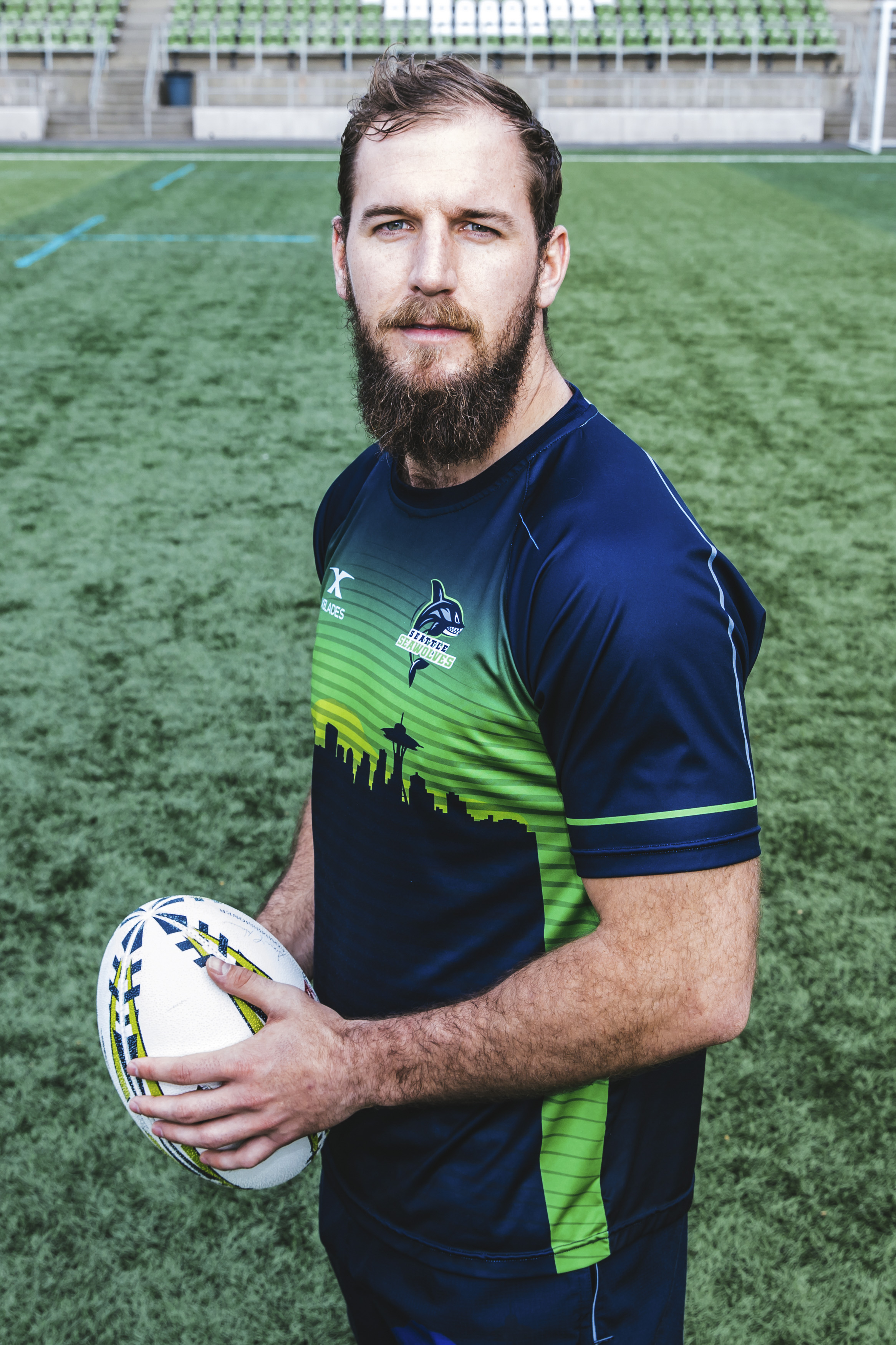 Hailing from Pretoria, South Africa, Riekert Hattingh, 24,{ } plays 8 Man on the Seattle Seawolves. His favorite movie is Yellowstone. (Image: Sunita Martini / Seattle Refined).
