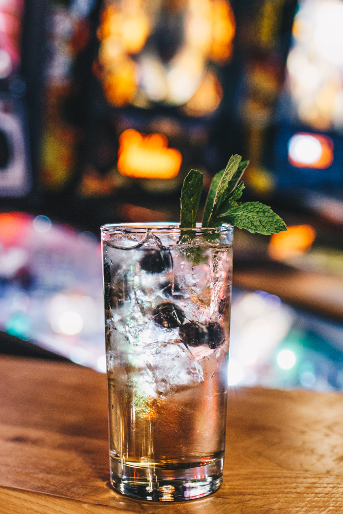 Pinball Wizard: blueberry vodka, St. Germain, ginger ale, and blueberries / Image: Catherine Viox // Published: 11.20.18
