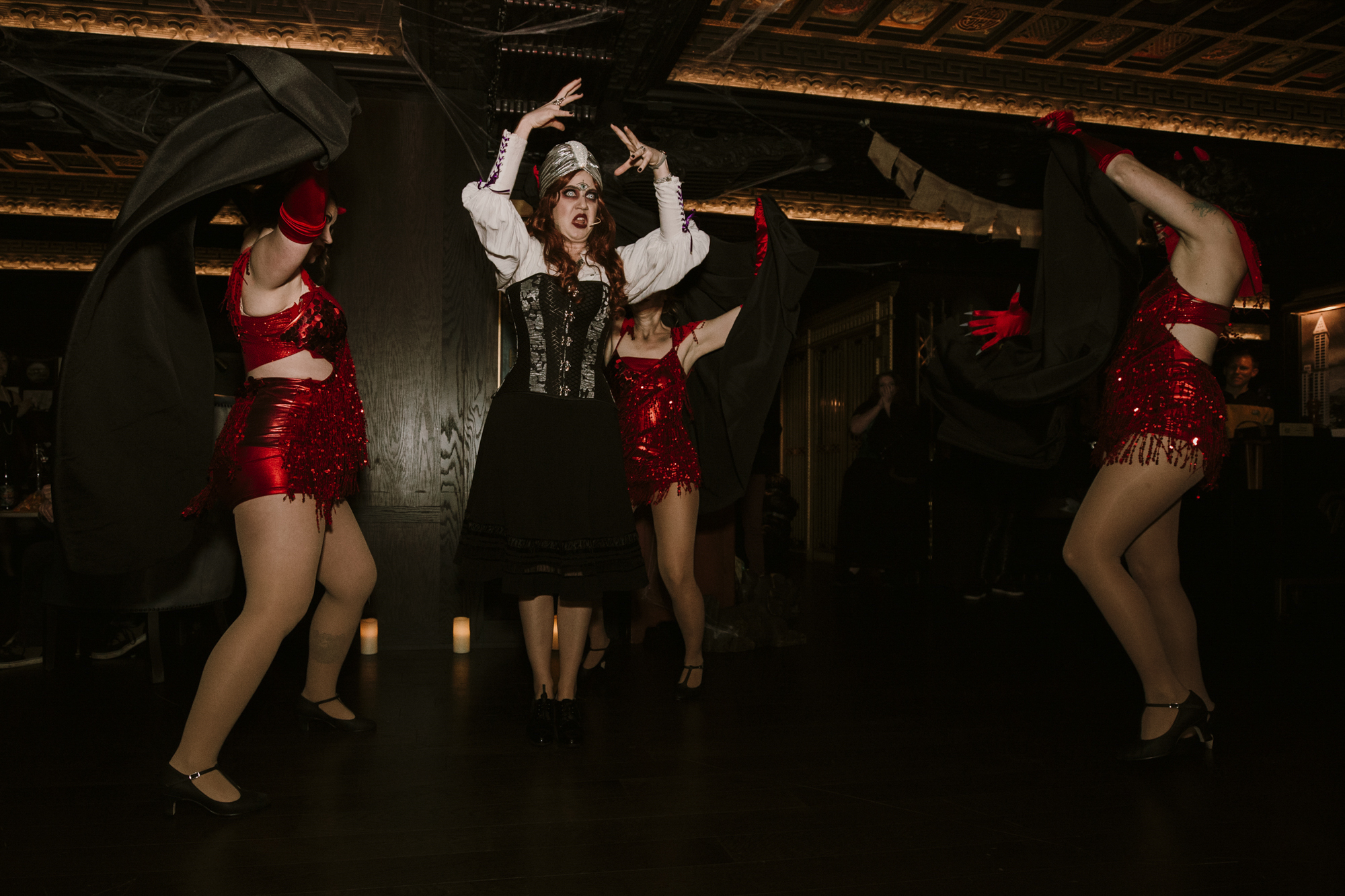 <p>It's the [zom] bees knees! For three nights only, Seattle's iconic Smith Tower transformed into a spooky speakeasy complete with dance parties, zombie flappers,{&nbsp;}séances and scary sangria. More info at visit.smithtower.com! (Image: Sunita Martini / Seattle Refined)</p>