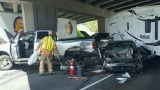 6-car crash closes I-5 near Roseburg: Truck 'came off of the overpass and hit the freeway'