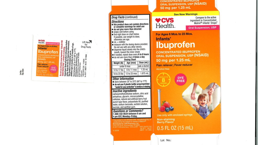 voluntary nationwide recall for infant ibuprofen sold at cvs family