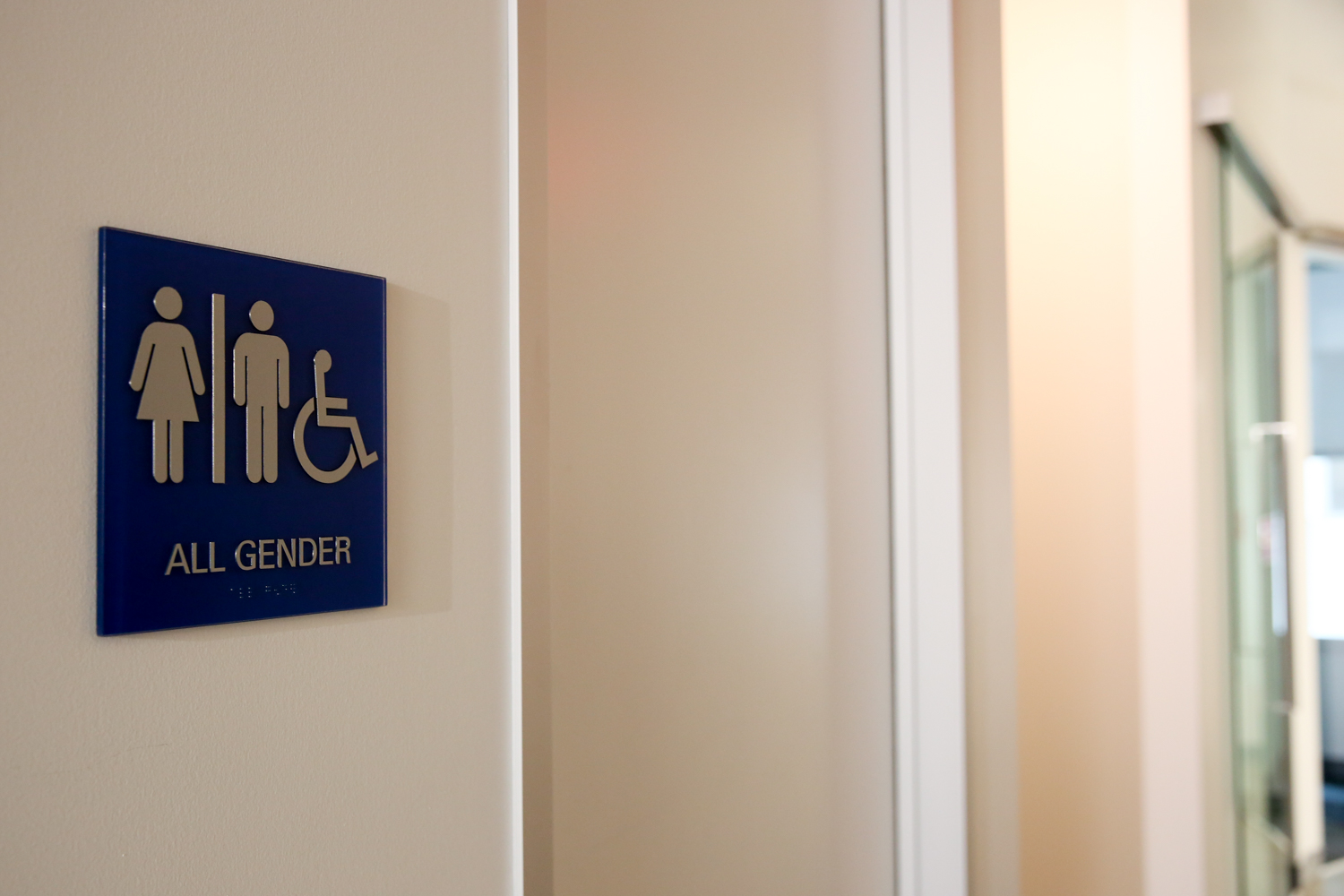 "The all-gender bathroom was important to include in the office as Yelp feels it speaks to their core mission of ""playing well with others."" ""You can actually search all-gender bathrooms on Yelp, so we wanted to practice what we preach at Yelp,"" said Van Santos. (Image: Amanda Andrade-Rhoades/ DC Refined)"