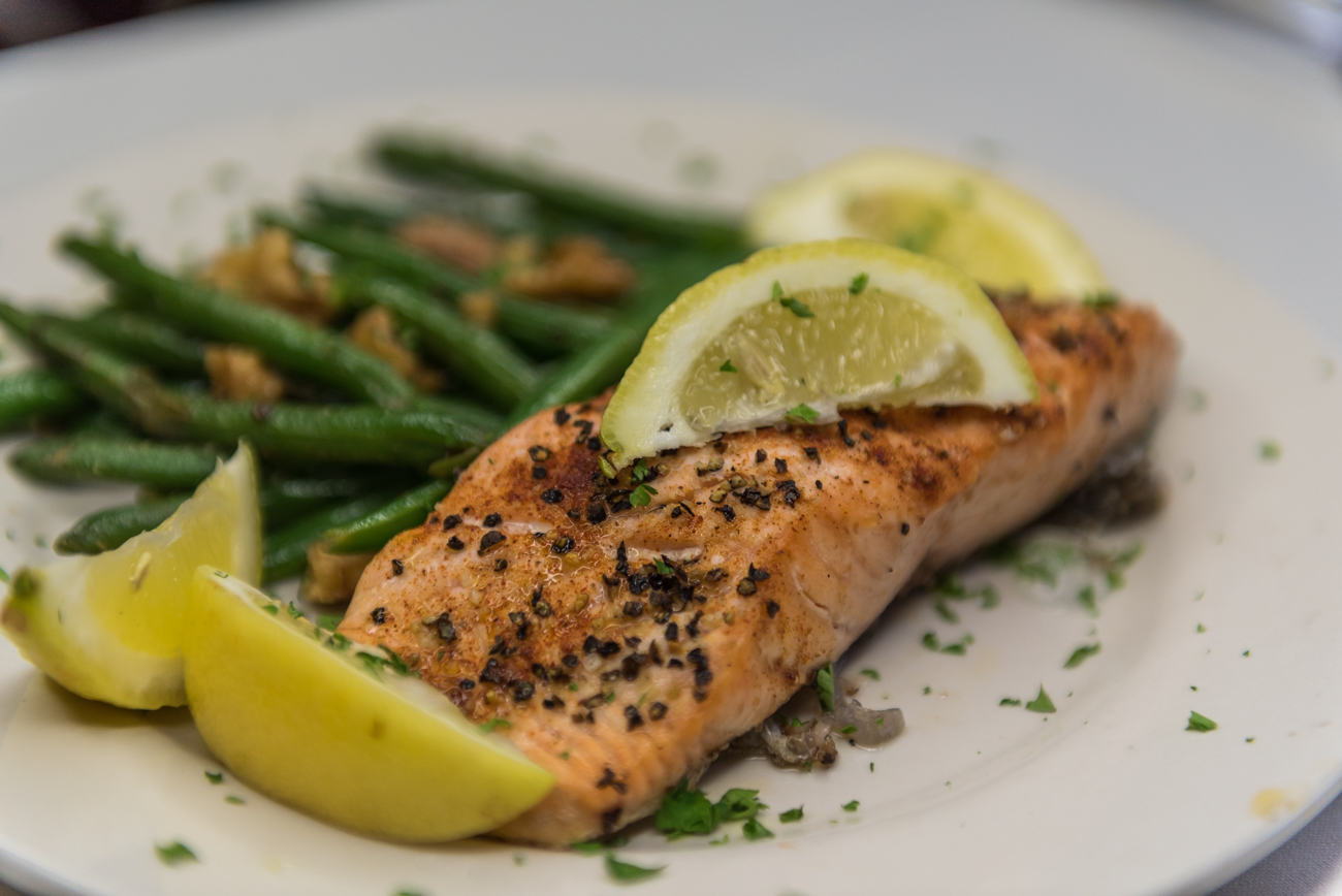 Salmon with walnuts and fresh green beans / Image: Mike Menke // Published: 6.16.18