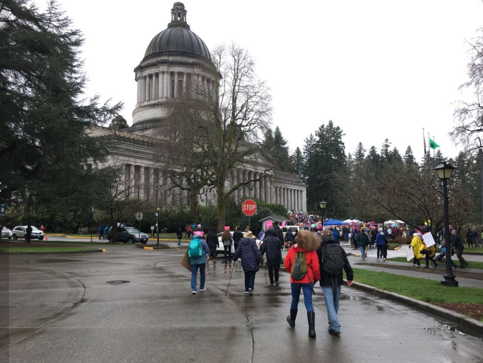 Women also rallied in Olympia on Saturday, Jan. 20, 2018. (Photo: KOMO News)