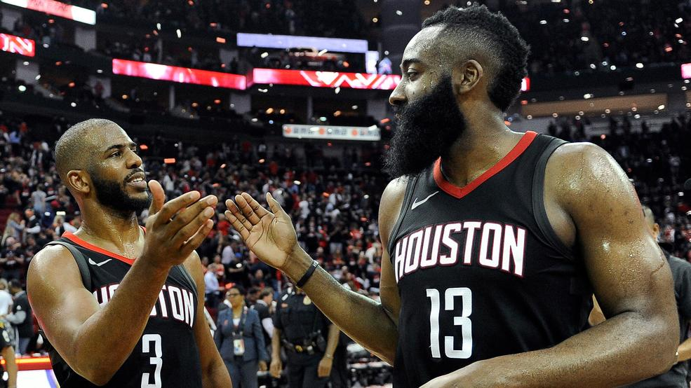 1c325a112597 Houston Rockets guard Chris Paul (3) and James Harden celebrate the team s  win over the Utah Jazz during Game 5 of an NBA basketball second-round  playoff ...