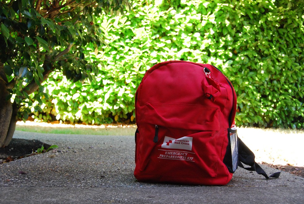 The American Red Cross also sells ready-made emergency preparedness kits at the American Red Cross store. (Image: Rebecca Mongrain/Seattle Refined)