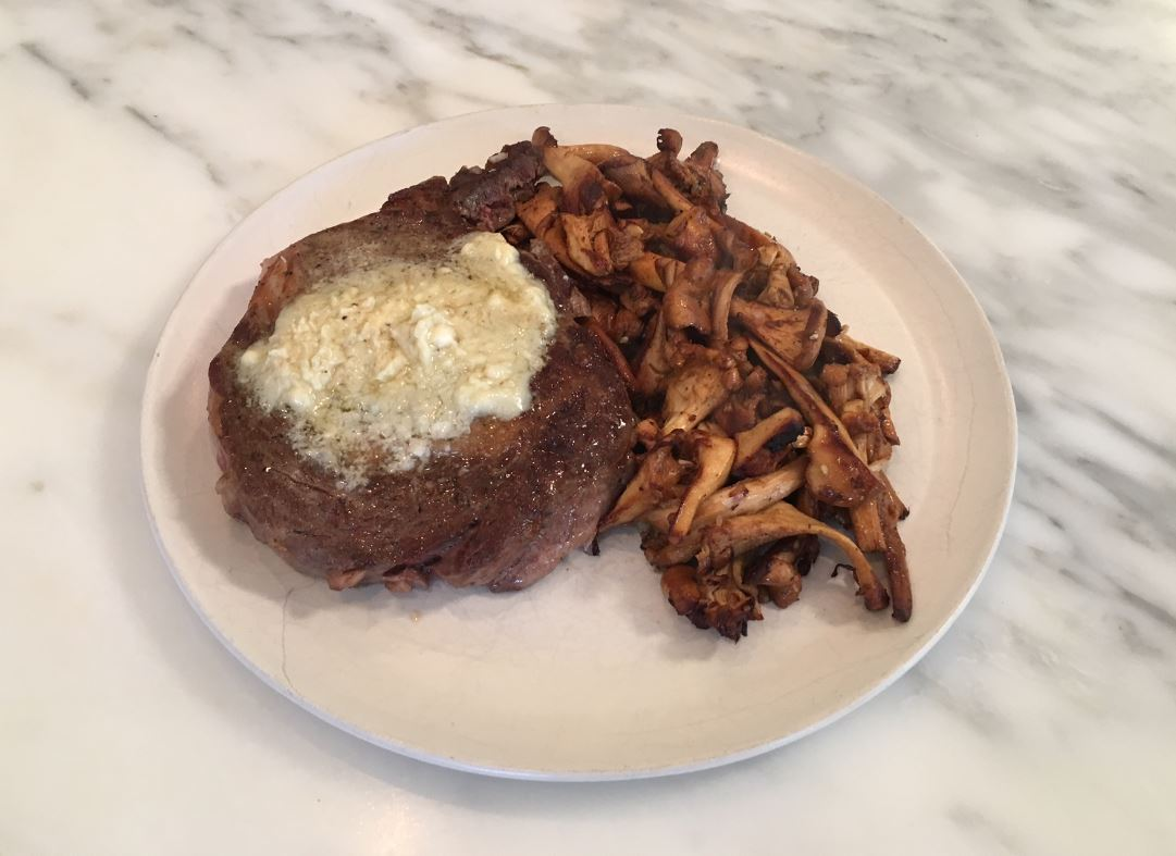 Delicious Seared Rib-Eye Steaks with Gorgonzola, Port Butter and Sauteed Chanterelle Mushrooms (Refined)<p></p>
