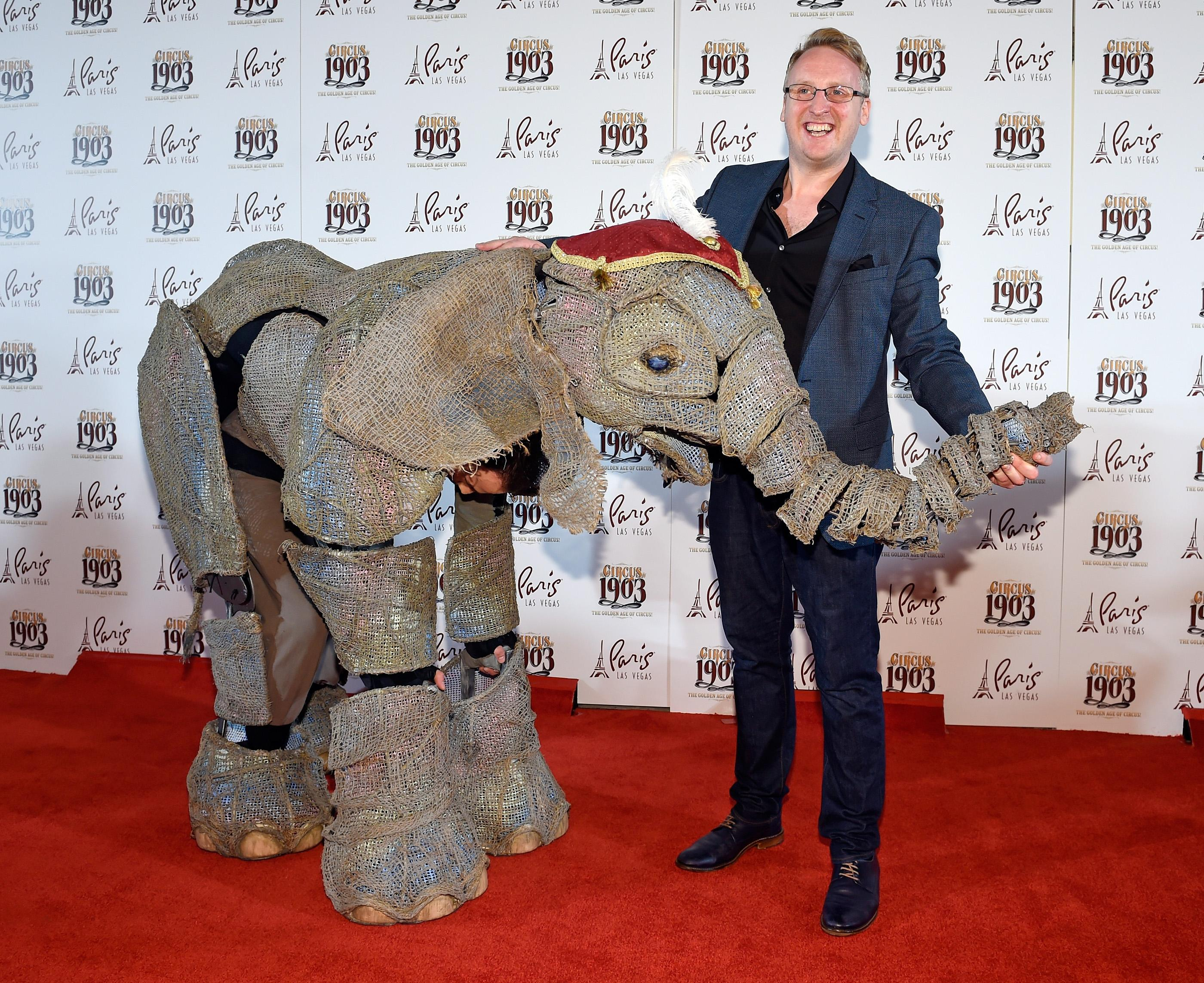"Director Neil Howard arrives at the grand opening of ""Circus 1903"" at Paris Las Vegas Tuesday, July 25, 2017, in Las Vegas. Life-size elephants puppets along with a cast of circus acts from around then world will entertain audiences of all ages Tuesday through Sunday at the Paris Theater. CREDIT: David Becker/Las Vegas News Bureau"