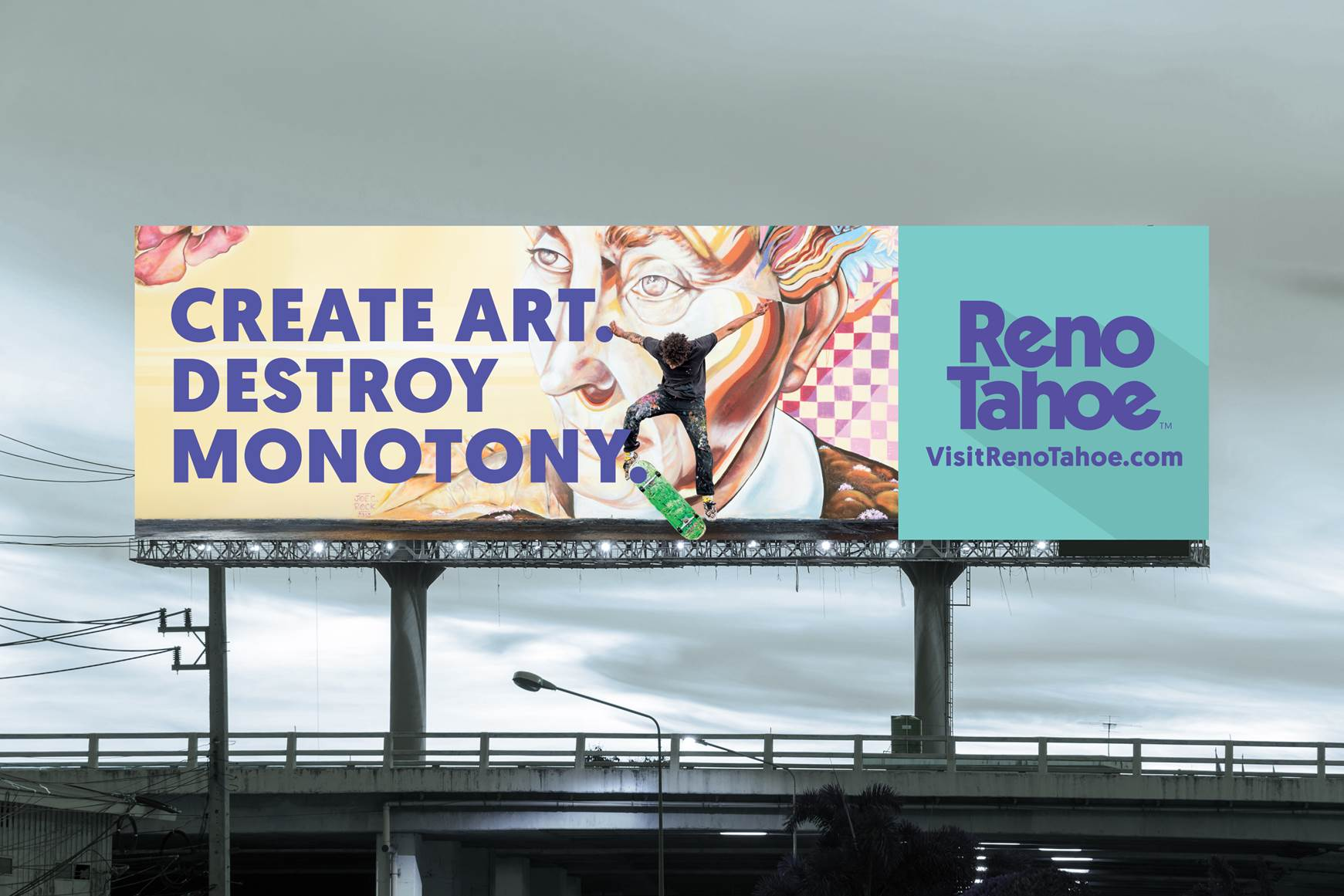 "'CREATE ART DESTROY MONOTONY"" is one of the billboards that will be seen throughout the Bay Area, Los Angeles and Seattle area."