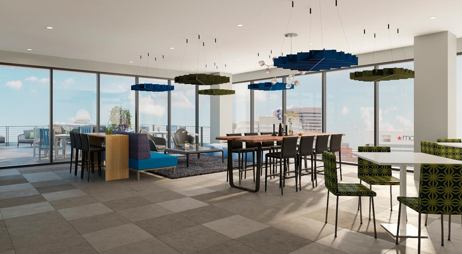 The community lounge will be located on the 18th floor. This is a rendering of that space as it's currently under construction. / Rendering by The Oval Room // Published: 9.2.19