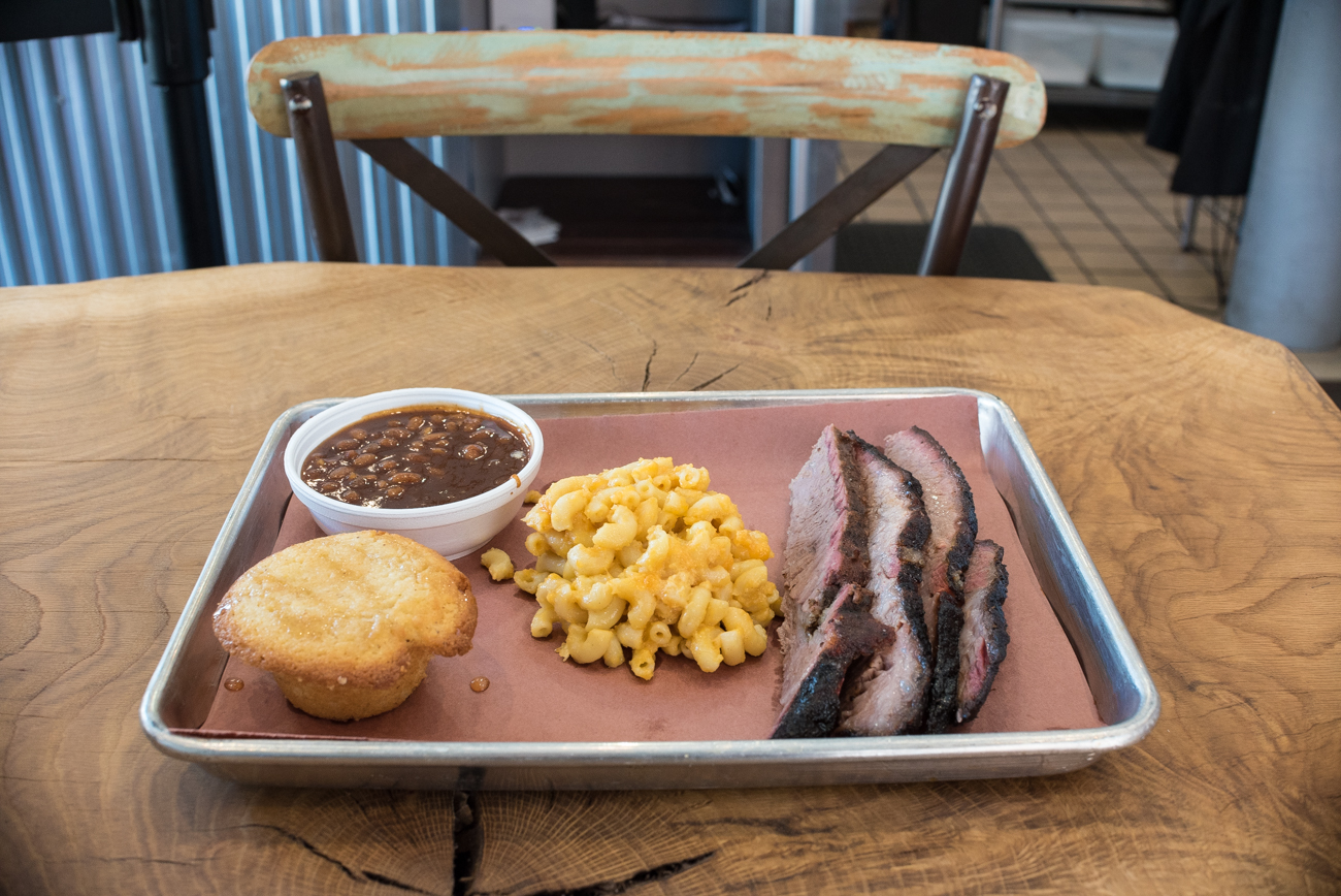The Goliath: Brisket with baked beans, mac and cheese, and cornbread / Image: Phil Armstrong, Cincinnati Refined