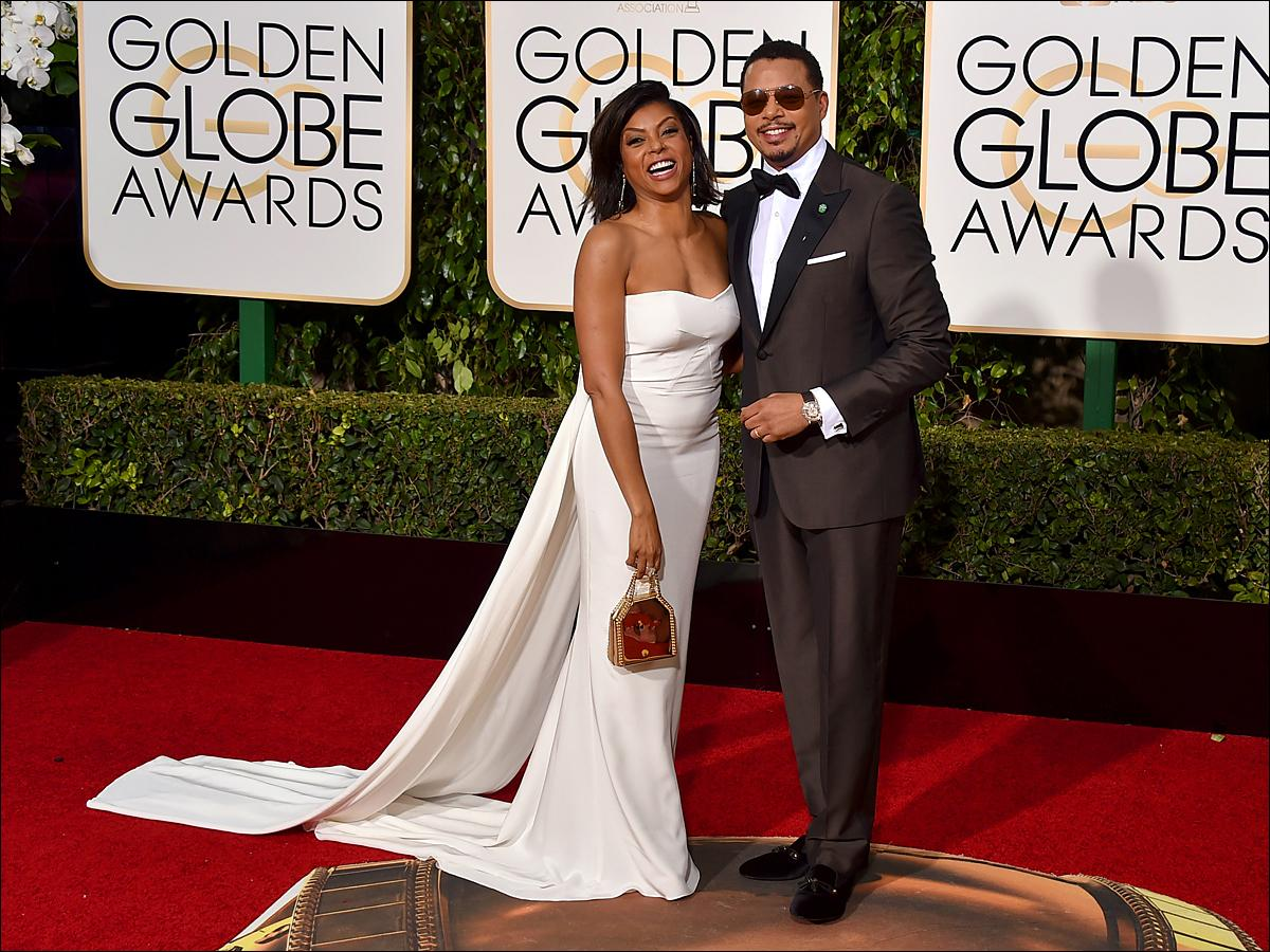 Taraji P. Henson, left, and Terrence Howard arrive at the 73rd annual Golden Globe Awards on Sunday, Jan. 10, 2016, at the Beverly Hilton Hotel in Beverly Hills, Calif. (Photo by Jordan Strauss/Invision/AP)