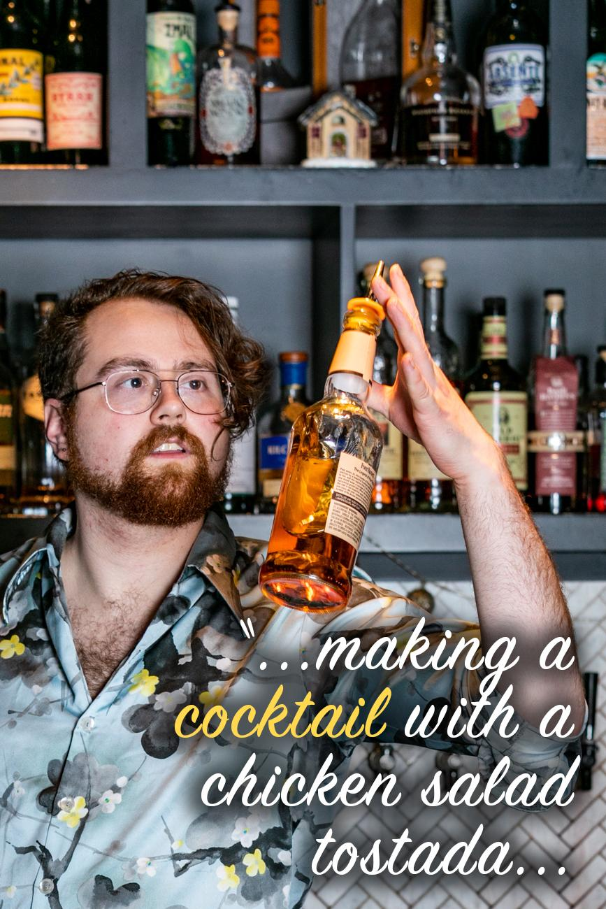 "CR: What is the oddest cocktail request you have ever gotten? / Kirby: ""I help run a project called 'Will It Muddle' with Mark on our Sunday shift where people bring us strange ingredients to muddle into cocktails, so there's a lot to choose from here. I'd say it's probably a tie between making a cocktail with a chicken salad tostada and making a drink out of a chunk of frozen durian. The results are usually pretty weird, but we aim to make them as palatable as possible."" / Image: Amy Elisabeth Spasoff // Published: 2.26.19"