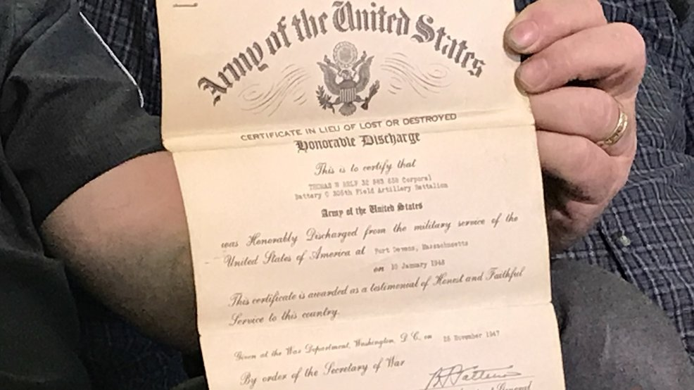 Veterans Wwii Honorable Discharge Papers Found In Uhaul He Was