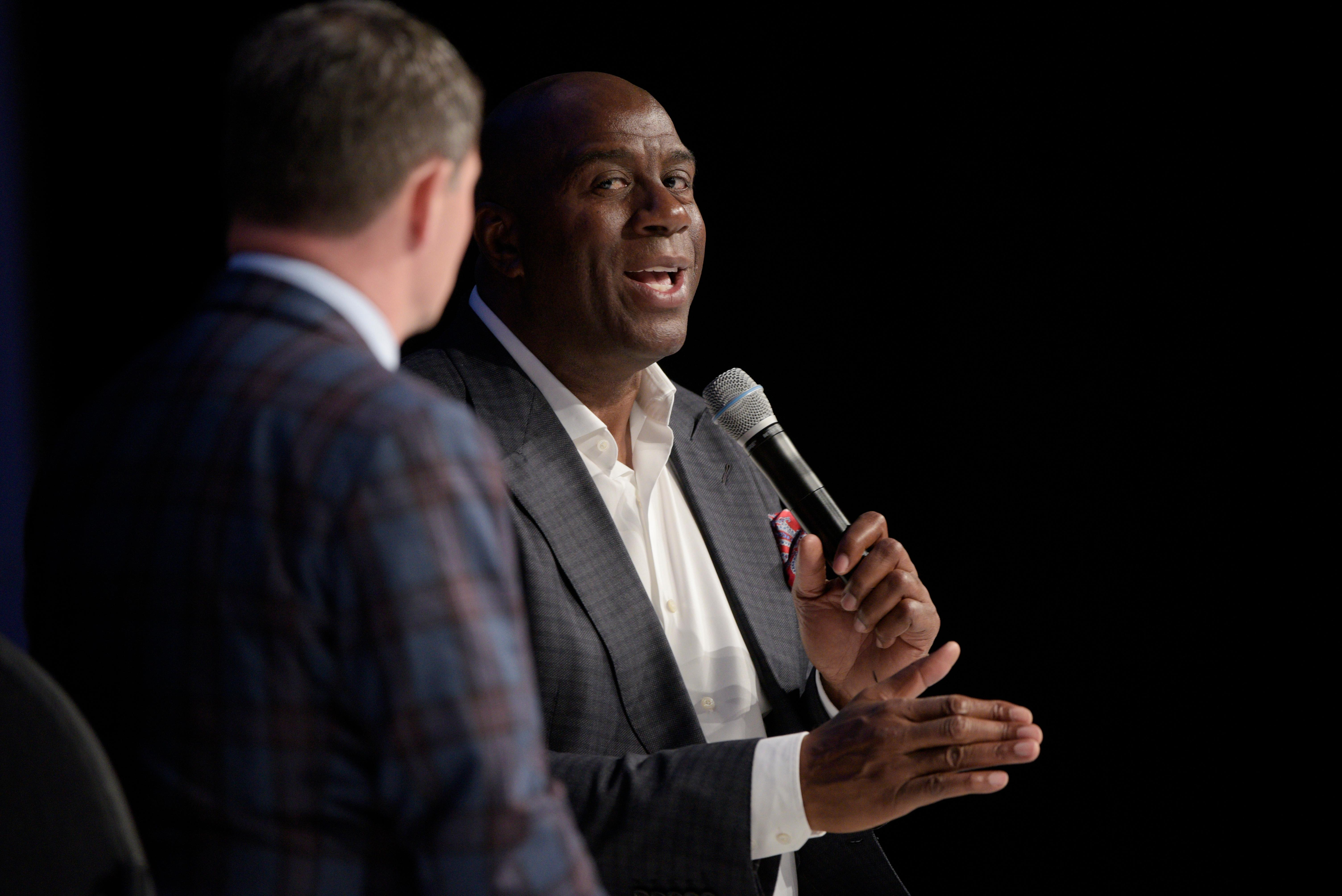NBA legend and two-time Hall of Famer Earvin Magic Johnson delivers a keynote address during the Global Gaming Expo Thursday, October 5, 2017, at the Sands Expo and Convention Center. CREDIT: Sam Morris/Las Vegas News Bureau