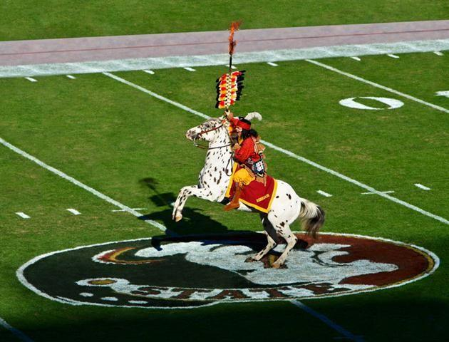 Osceola and his horse Renegade debuted during the September 16, 1978 game against the Oklahoma State Cowboys. The rider stabs a flaming spear into center field.
