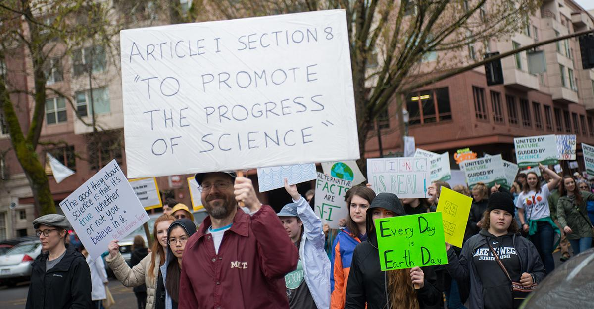 "(FILE) To mark Earth Day 2017, thousands of people marched through the streets of Downtown Portland on Saturday as a statement to ""defend the vital role science plays in our health, safety, economies, and governments."" - KATU photo taken 4-22-2017 by Tristan Fortsch"