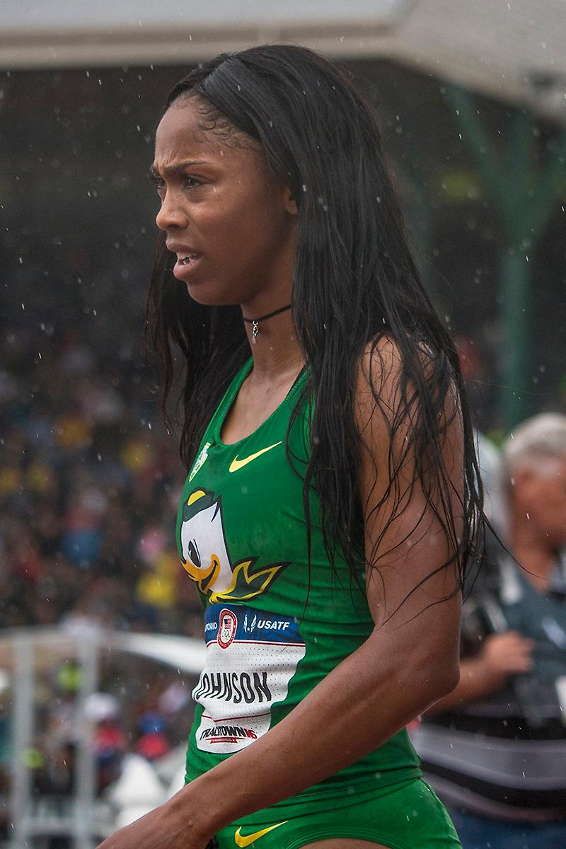 Oregon Duck Alaysha Johnson looks to her competitors after finishing her attempt in the semi-finals of the women�s 100 meter hurdles. Day Eight of the U.S. Olympic Trials Track and Field continued on Friday at Hayward Field in Eugene, Ore. and will continue through July 10. Photo by Katie Pietzold