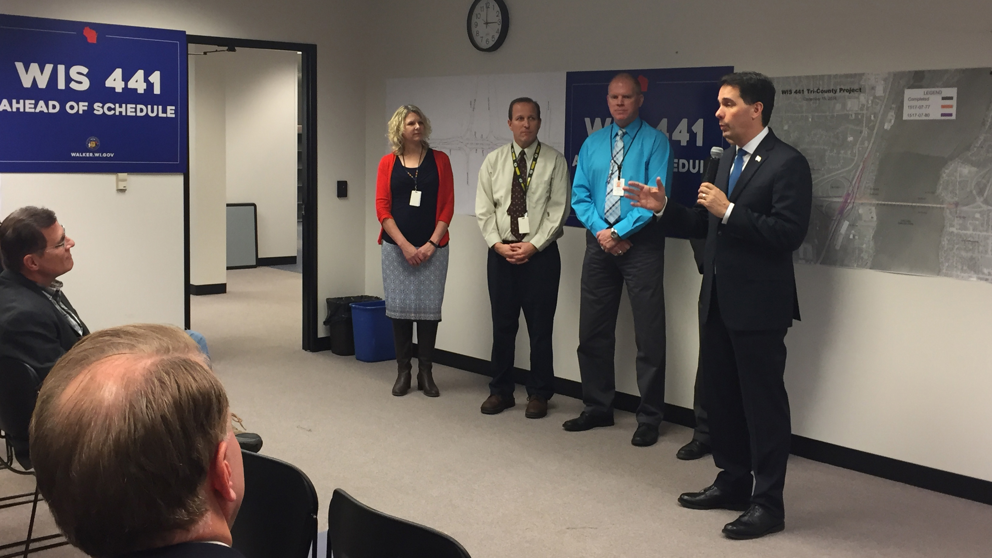 Gov. Scott Walker speaks at the Wisconsin 441 Project Office in Greenville Dec. 18, 2017, to announce that Hwy. 441/10 will open a year earlier than expected. (WLUK/Ben Krumholz)
