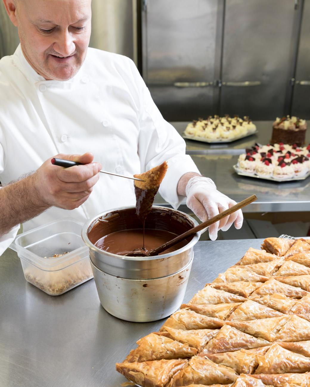 Dark chocolate sauce used for coating classic baklava / Image: Marlene Rounds // Published: 9.5.18