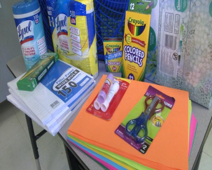 Some school supplies parents donated to Sarah Woody's classroom. (WCHS/WVAH)