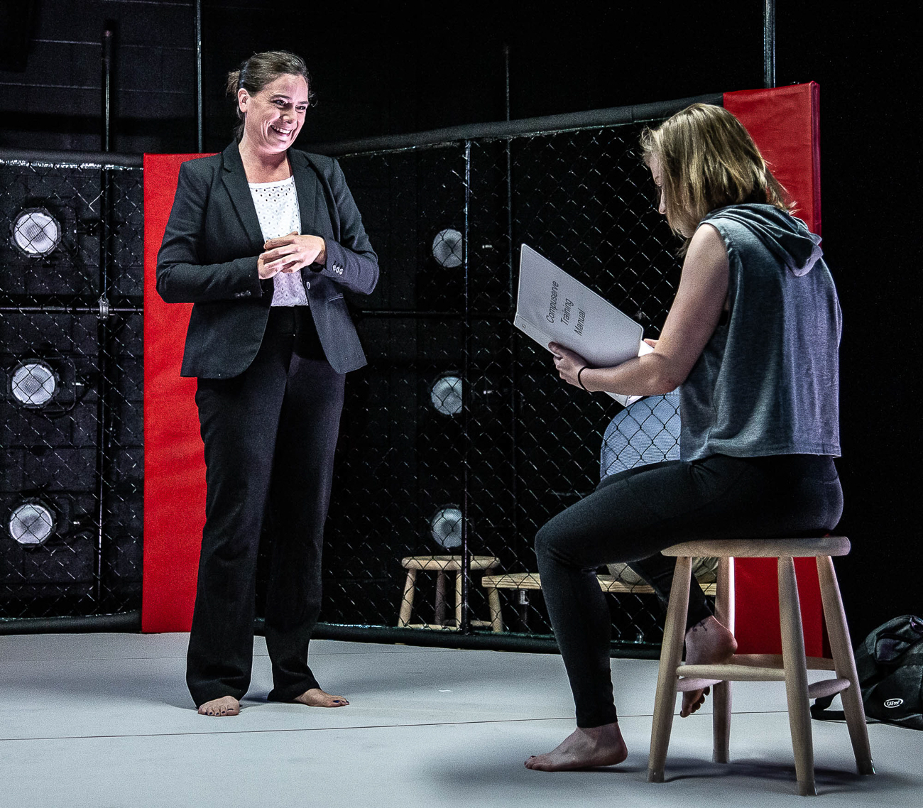 Tess Talbot and Jennifer Joplin / Girl in the Red Corner by Stephen Spotswood plays every Wednesday through Sunday from July 26 to August 17 at Know Theatre in Over-the-Rhine. ADDRESS: 1120 Jackson Street (45202) / Image: Daniel Winters Photography // Published: 7.31.19