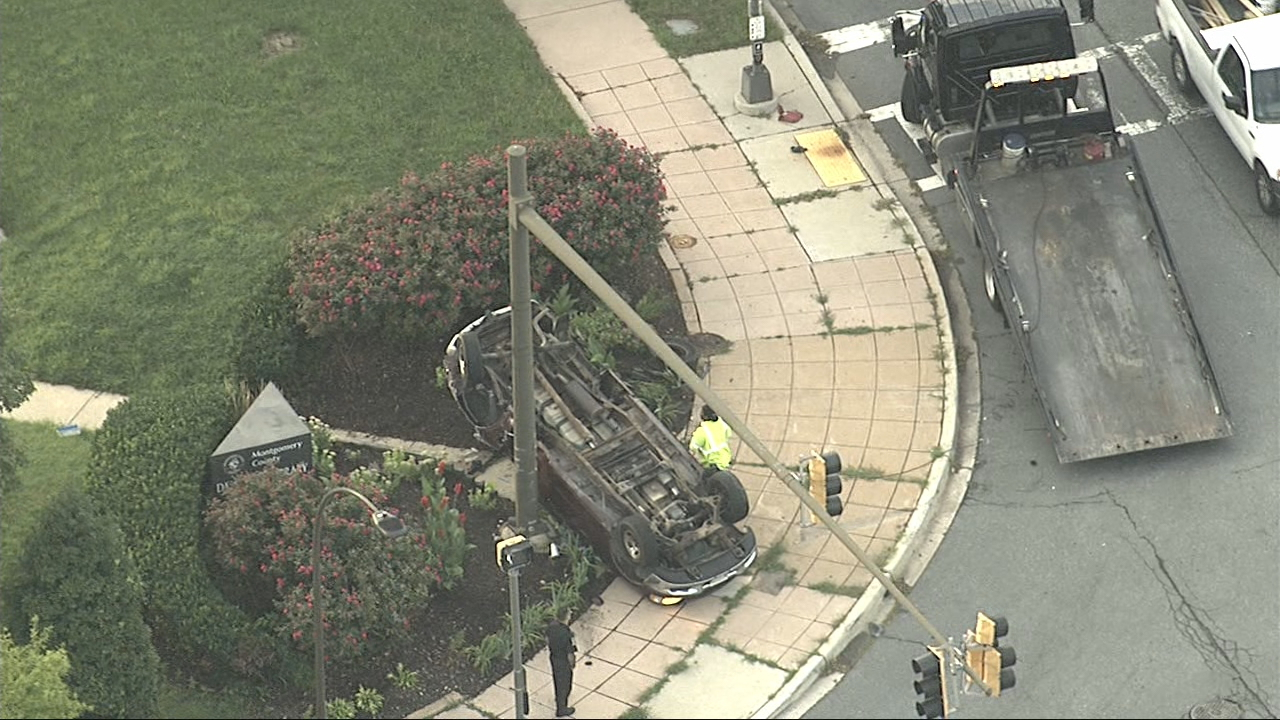 A pickup truck flipped over in a crash in Maryland. (Photo, ABC7)