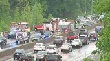 Five injured in 12-vehicle wreck on Interstate 64 just past the St. Albans exit